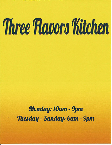 Three Flavors Kitchen Front Menu